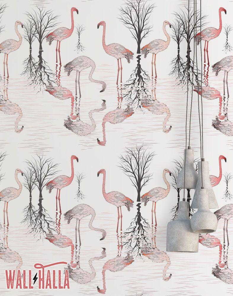 Flamingo Swamp Wallpaper Removable Wallpaper Pink Etsy Flock Wallpaper Wallpaper Dots Wallpaper
