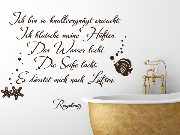 Lustiger Wandspruch von Ringelnatz fürs Badezimmer Wandtattoo - bilder fürs badezimmer