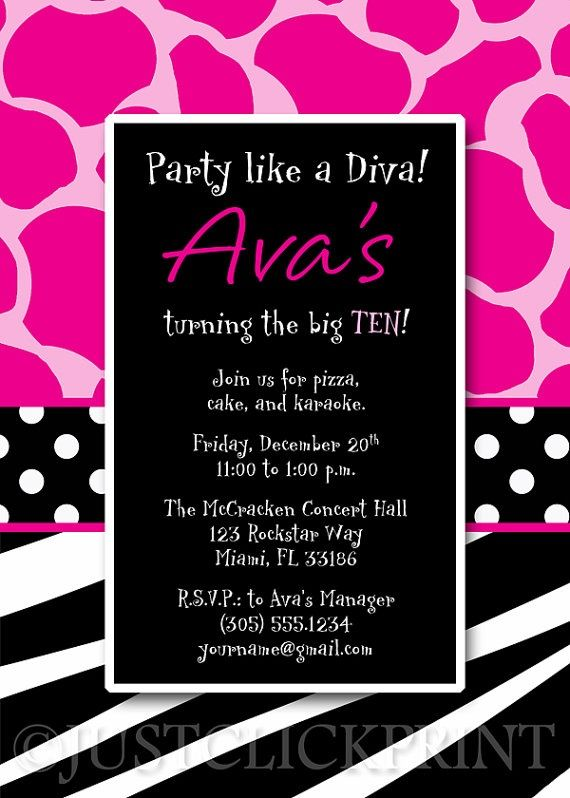 Birthday diva found on etsy party ideas pinterest diva love this card br this listing is for a customized printable invitation file only colors fonts and wording can be changed to match your theme coordinating stopboris Image collections