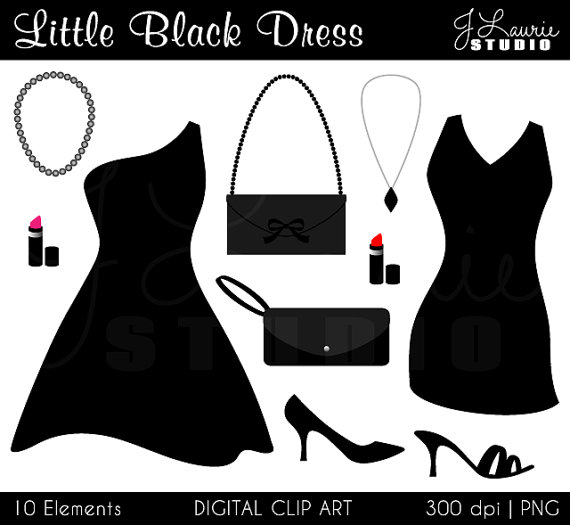 Little Black Dress Digital Clipartcocktail By