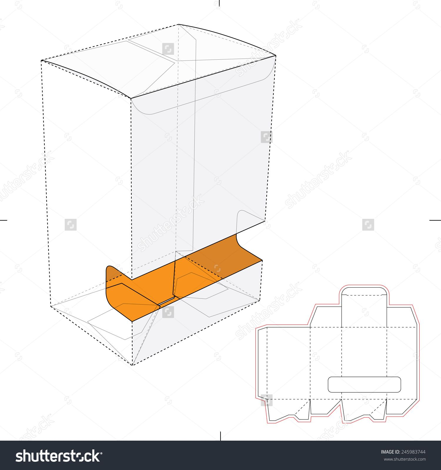 Gravity Fed Dispenser Box With Die Cut Template Stock Vector