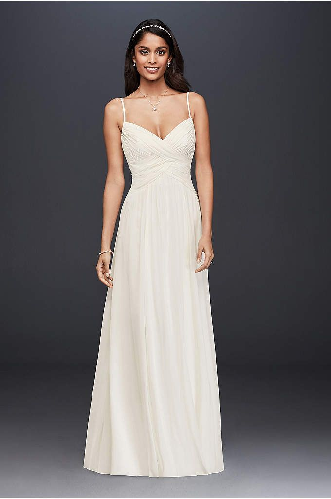 Ruched Bodice Chiffon A Line Wedding Dress A Sweet And Simple
