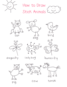 a little inspiration on how to draw stick animals i dont know why - Simple Drawing For Toddlers