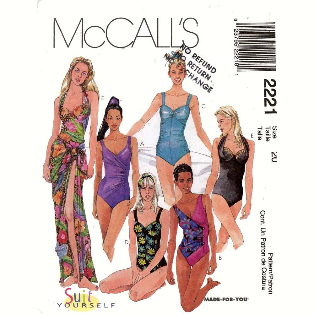 One piece swimsuit bathing suit and pareo sewing pattern mccalls one piece swimsuit bathing suit and pareo sewing pattern mccalls 2221 sz 20 1399 jeuxipadfo Gallery