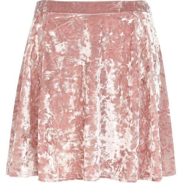 River Island Light pink crushed velvet skater skirt ($6.65) ❤ liked on Polyvore featuring skirts, bottoms, pink, sale, crushed velvet skirt, summer skirts, pink skater skirt, pink skirt and panel skirt