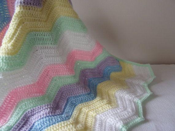 Striped Handmade Crochet Baby Blanket, shawl, suitable car seat ...
