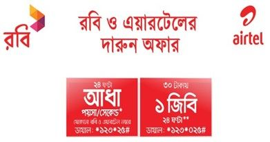Robi Airtel Offer 1gb 30 Tk Robi Airtel Free Sim And 0 5 Paisa Call Rate Technewssources Com Offer Rate Call