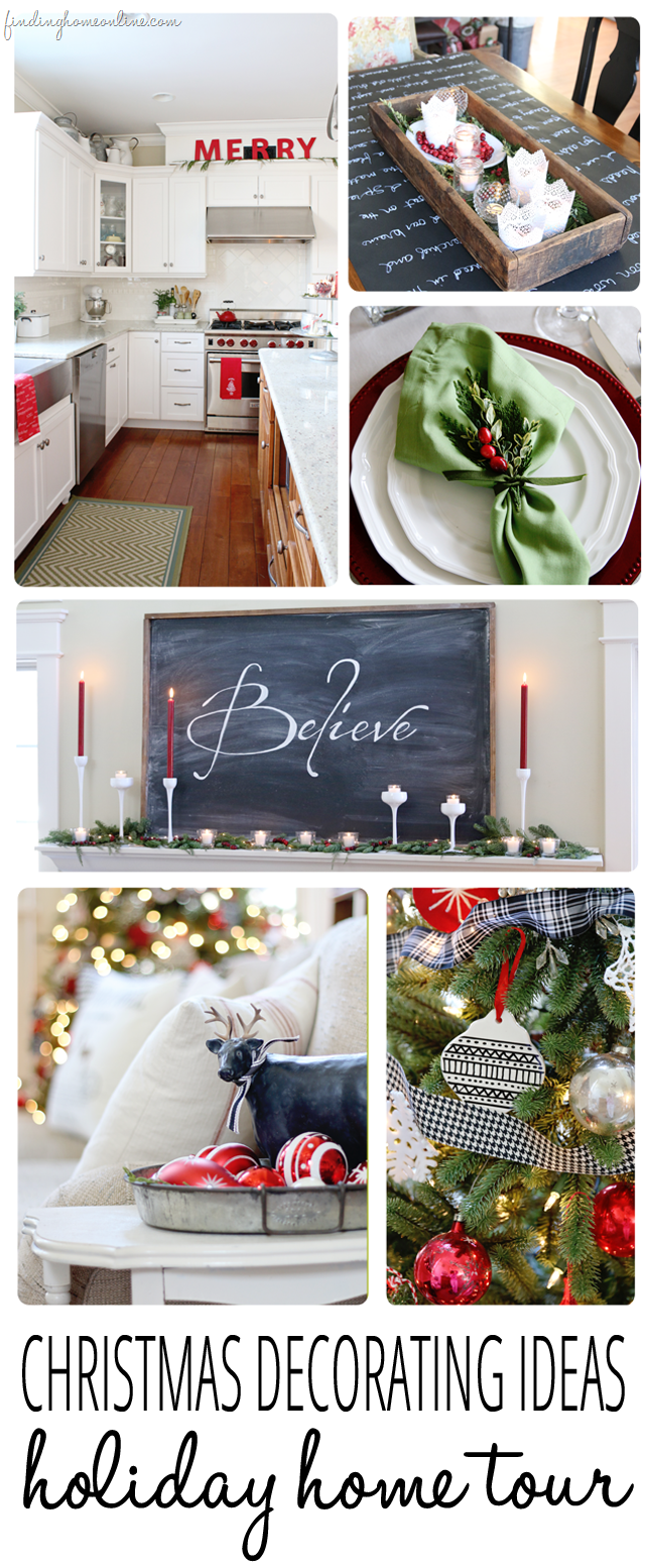 Christmas Decorating Ideas - Simple and doable ideas for decorating your home for Christmas using reds, evergreens and touches of black and white.