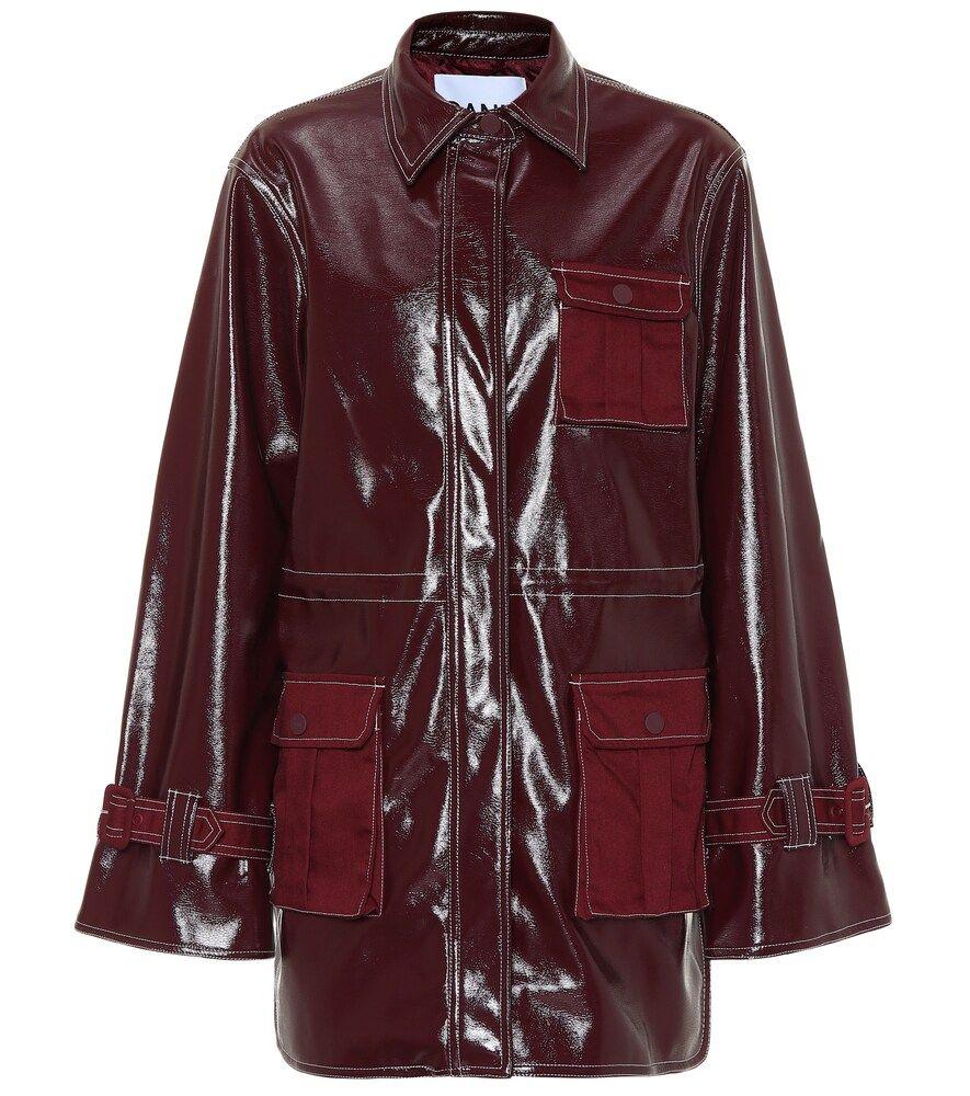 Ganni Patent Faux Leather Jacket Ganni Cloth Leather Jacket Faux Leather Jackets Leopard Print Bikini Bottoms [ 1000 x 885 Pixel ]