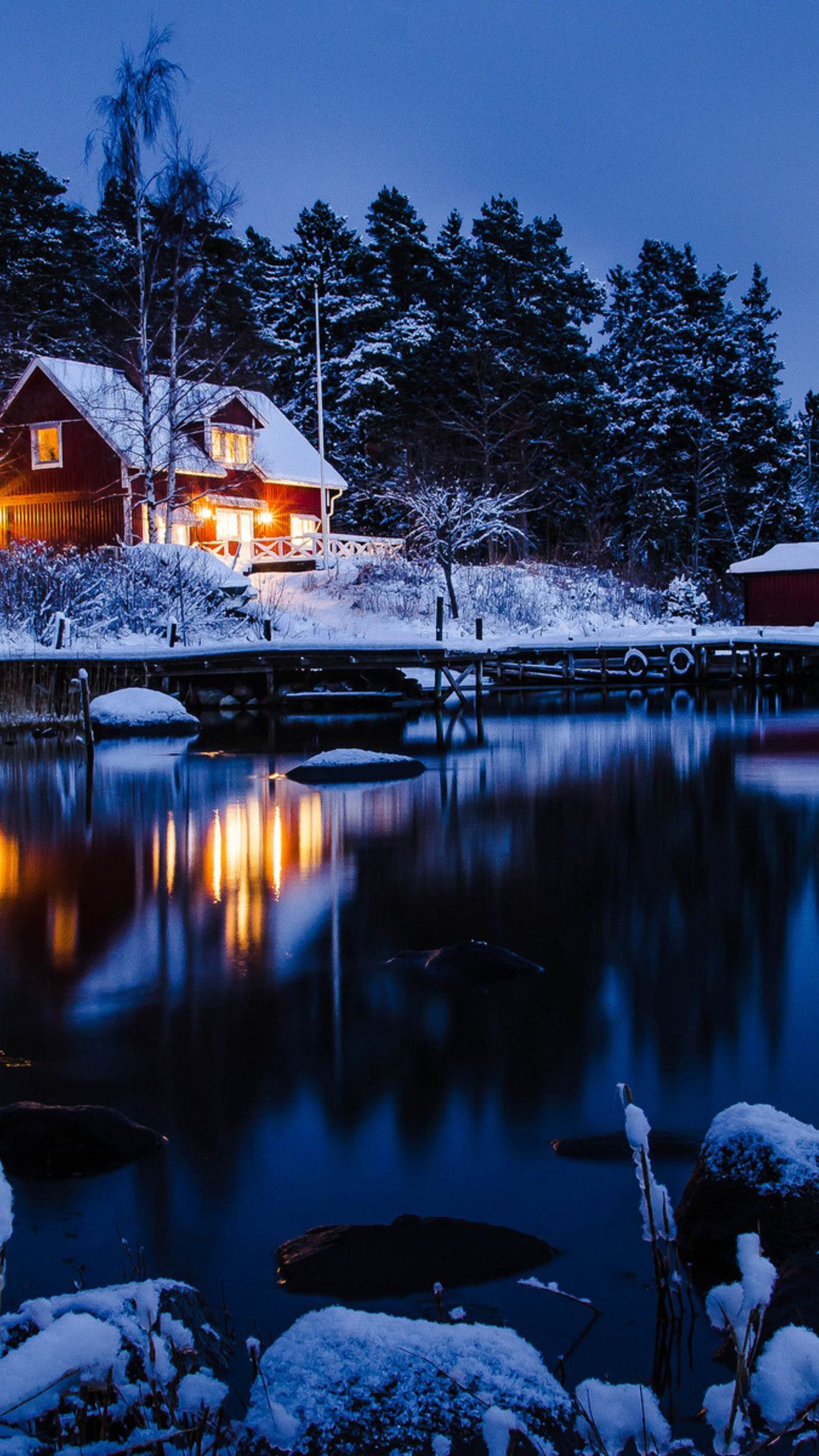 wallpaper download 1080x1920 winter holiday night at the