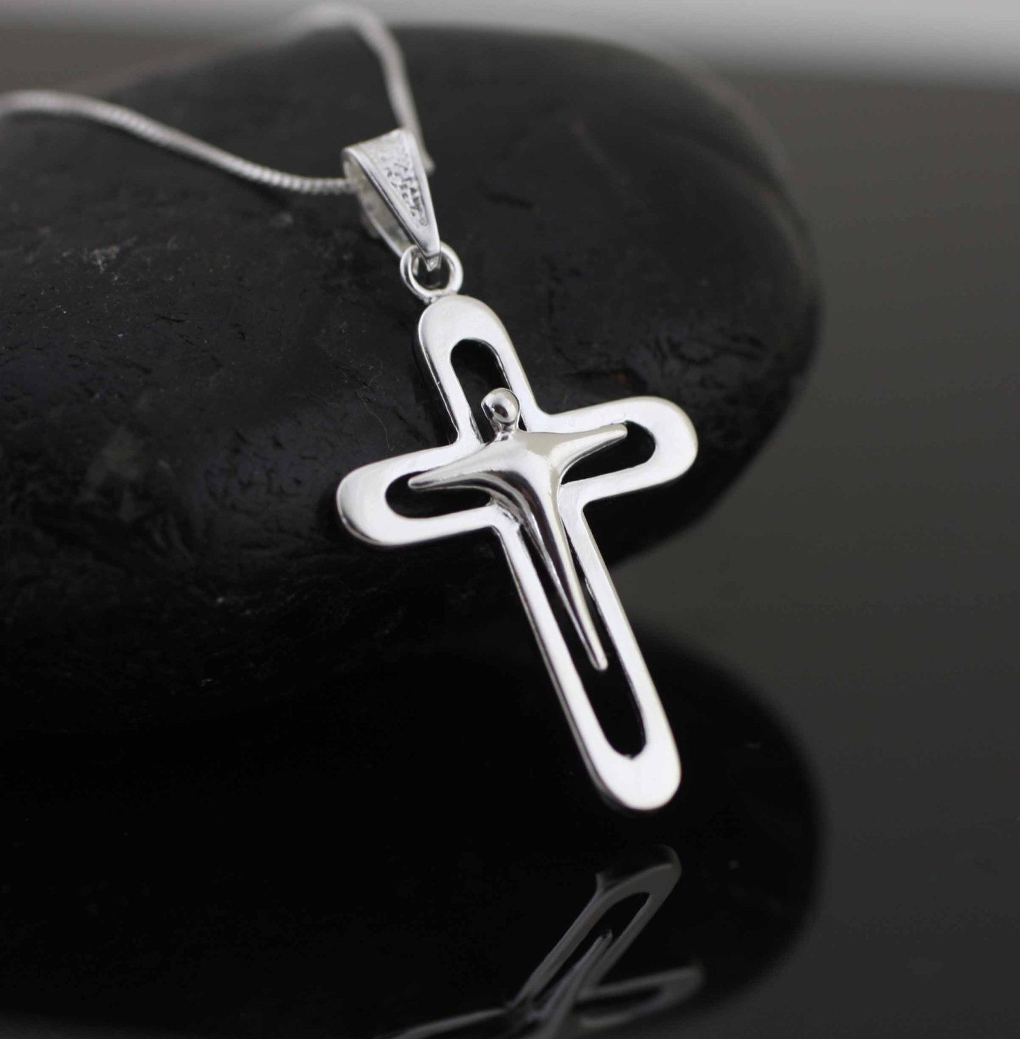 Silver Modern Cross Necklace Sterling Silver Cross Necklace Crucifix Cross Pendant Sterling Silver Cross Necklace Modern Cross Necklace Cross Necklace Silver
