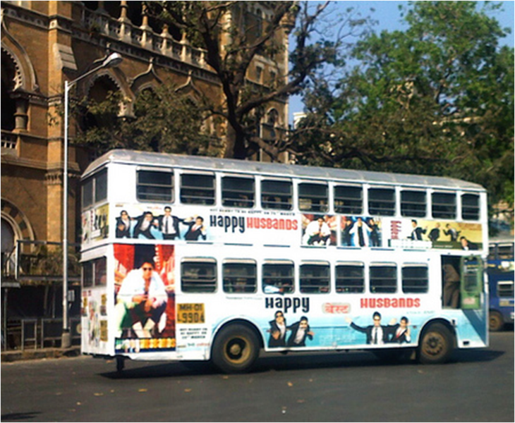The iconic double decker BEST bus in Mumbai covered in the