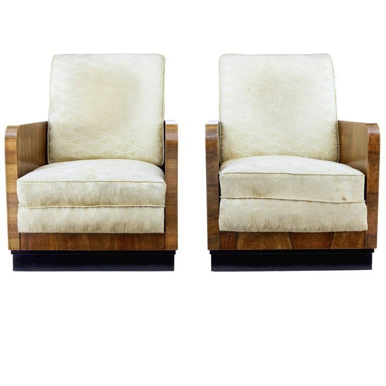 Pair of Italian 1950s Deco Inspired Walnut Armchairs 1