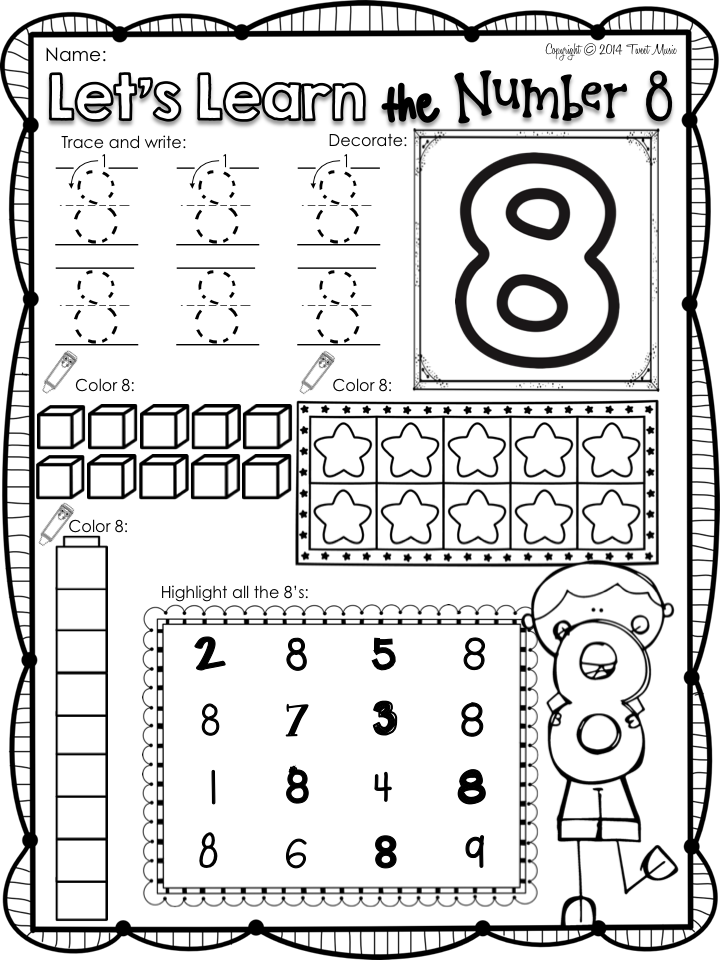 FREEBIE: All About the Number Eight | KindergartenKlub.com ...