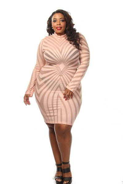 This hot plus size dress features a mesh diamond patttern, long sleeves mock neck and a fit at the knees. Soft, stretch material Tight fit 90% Nylon 10% Spandex Model wearing 3X Made in USA