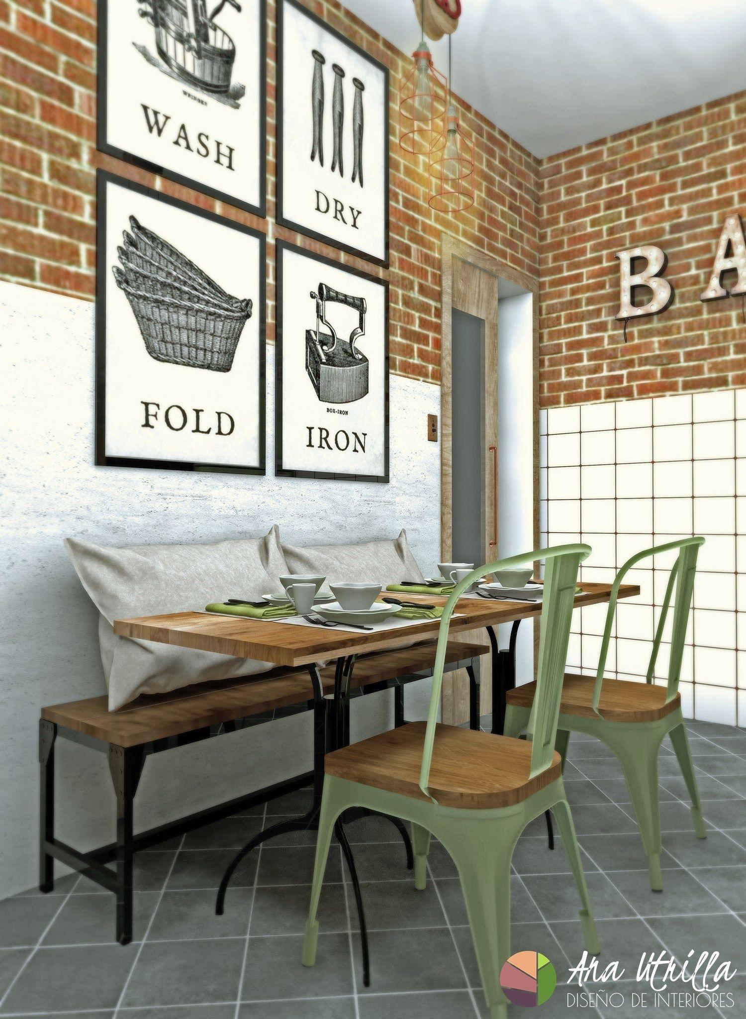vista en perspectiva de diseño de cocina de estilo industrial