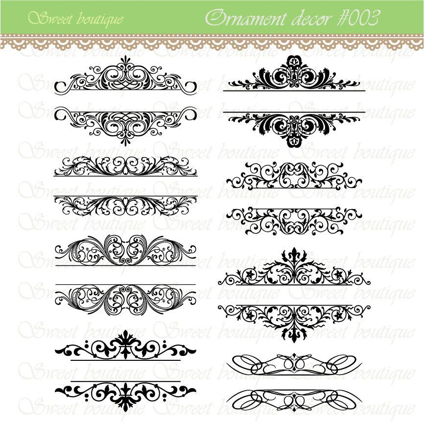 Word clip art wedding embellishments vintage calligraphy