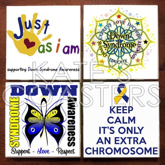 ALL proceeds from sales of these coasters today 10/8/13 will be donated to the Down Syndrome Research & Treatment foundation. Set of 4 Down Syndrome Awareness coasters, $10.00