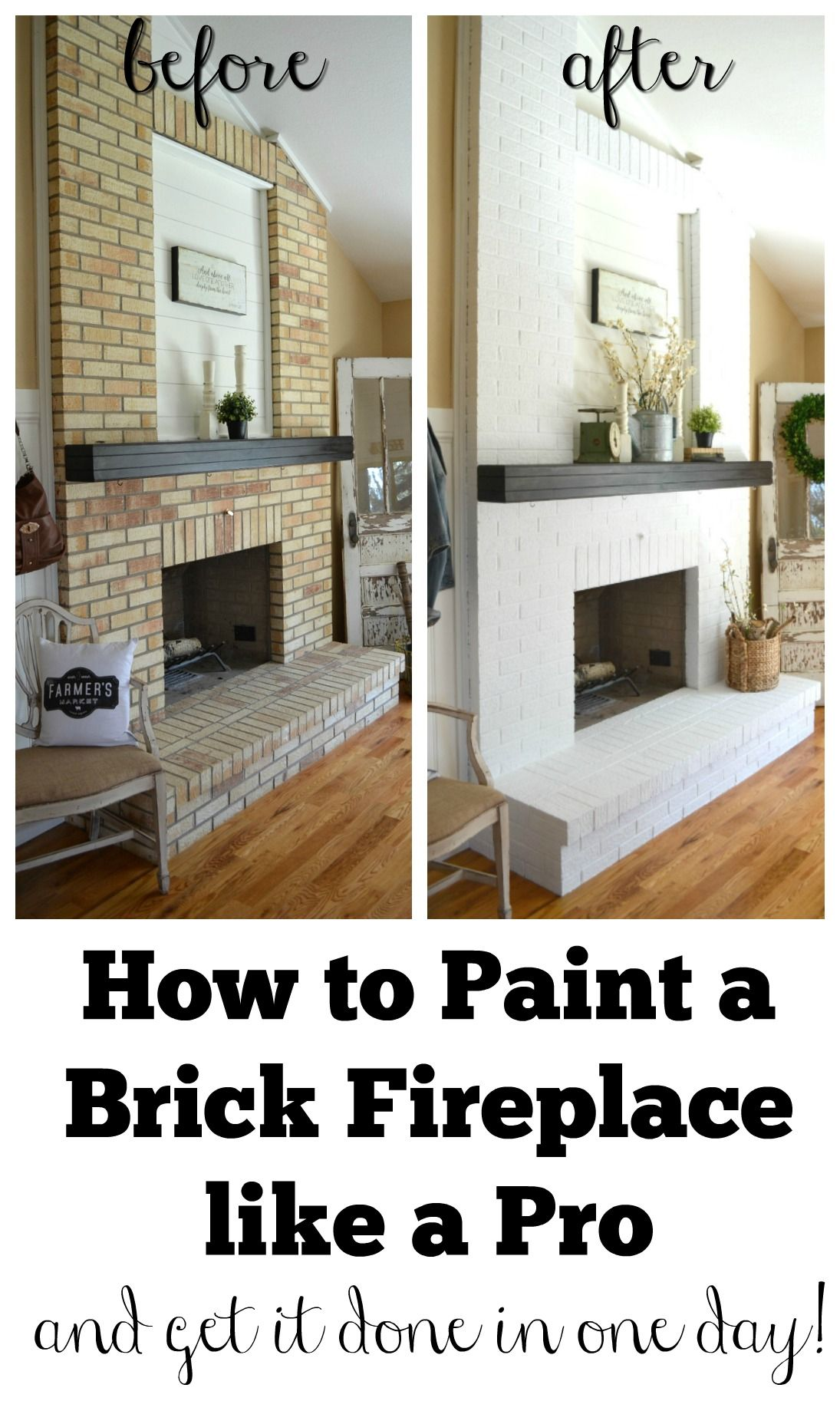 How To Paint A Brick Fireplace Brick Fireplace Makeover White