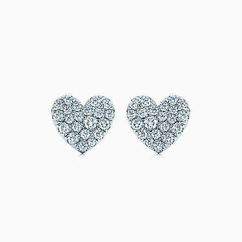 Tiffany Metro Heart Earrings In 18k White Gold With Diamonds