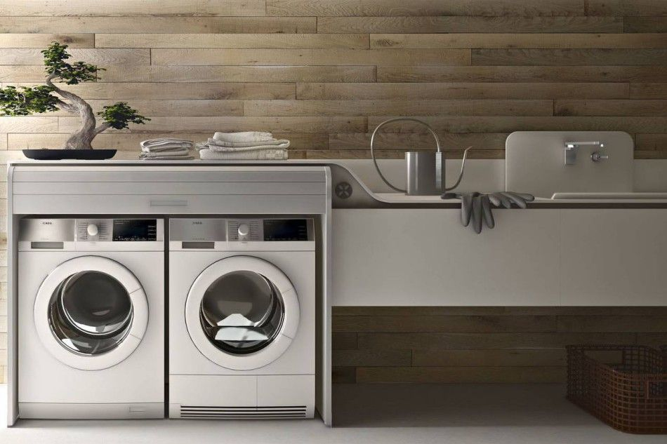 Laundry valcucine lavanderia integrata in cucina for Piani di camera di lavanderia