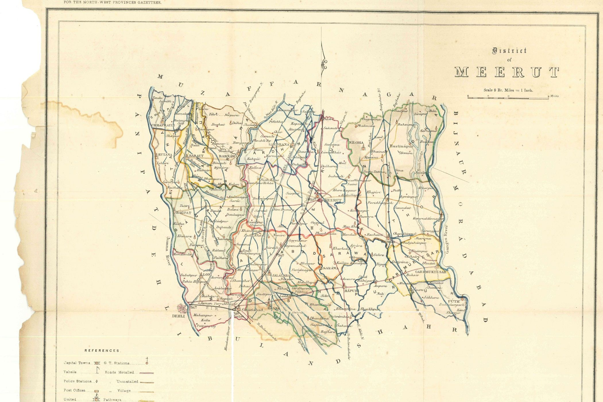 Map of the District of Meerut  Lithographed at the Surveyor