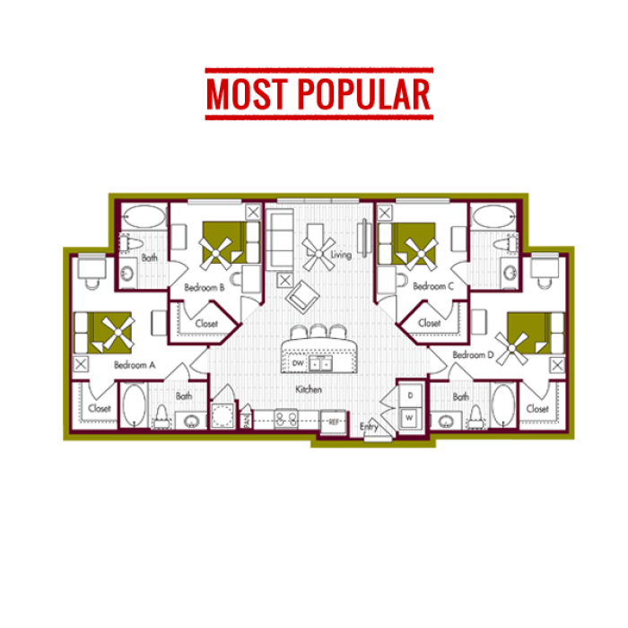 Floorplans Domain At Northgate Student Apartments For College Station Tx At Texas A M University And Blinn Co Floor Plans Student Apartment College Station