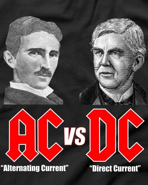 AC VS DC Thomas Edison Nikola Tesla T-Shirt | Just nerdy