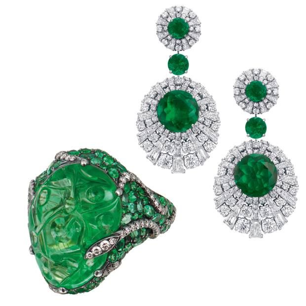Tenzo Platinum Gold Diamond And Emerald Ring 290 000 Graff White Pea Earrings Price On Request