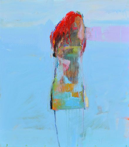 Chris  Gwaltney - Chris Gwaltney Resolve a vibrant blue background for an abstract figure oil painting at Seager Gray Gallery in Mill Valley CA in the San Francisco Bay Area.