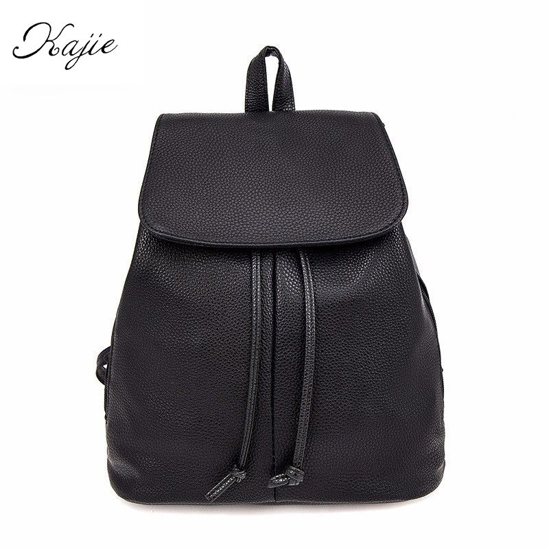 Kajie Black Drawstring Bag Women Leather Small Backpacks School ...