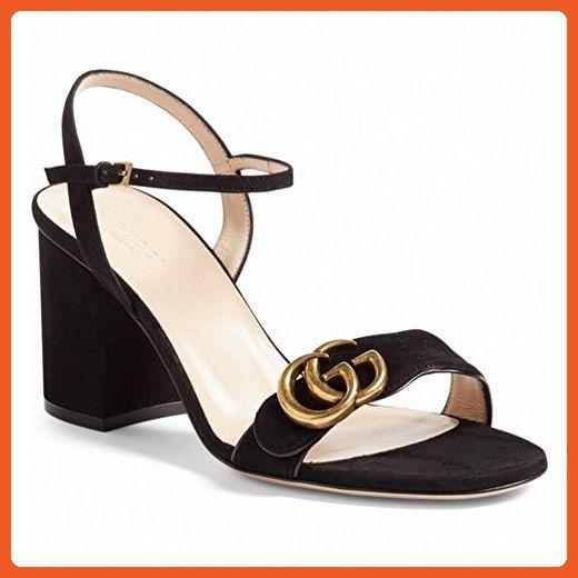 6c8e69cc124b4 A&N Womens Kitten-Heel Adjustable-Strap Buckle Black Lambskin ...