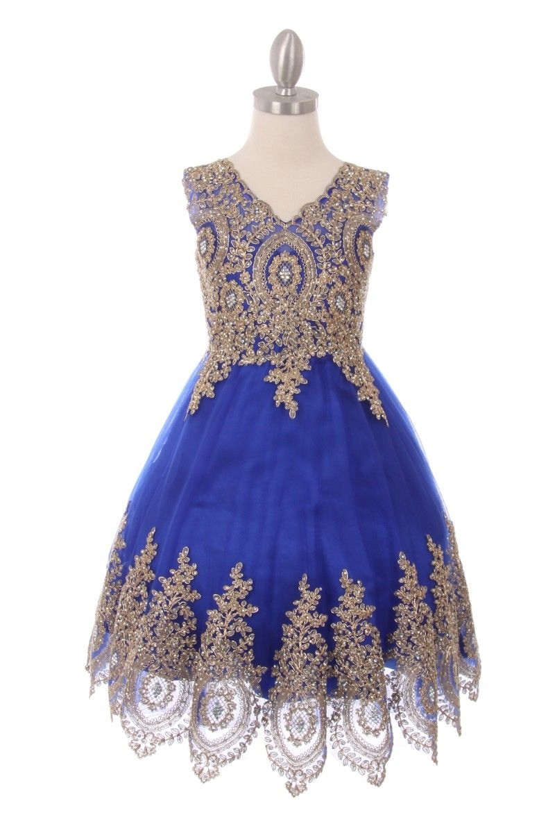 1b4d49fead Mirabel - Elegant Lace Blue   Gold Party DressCC5021 - Royal Blue Girls  Party Dress with Gold Trim Blue flower girl dress Scalloped trim cut to fit  girls ...