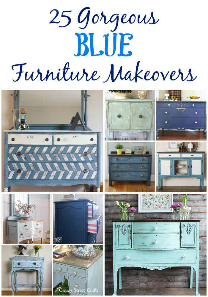 25 Blue Furniture Makeovers  Canary Street Crafts is part of Furniture makeover - 25 gorgeous blue furniture makeovers  25 of the best furniture makeovers using blue chalk paint and milk paint