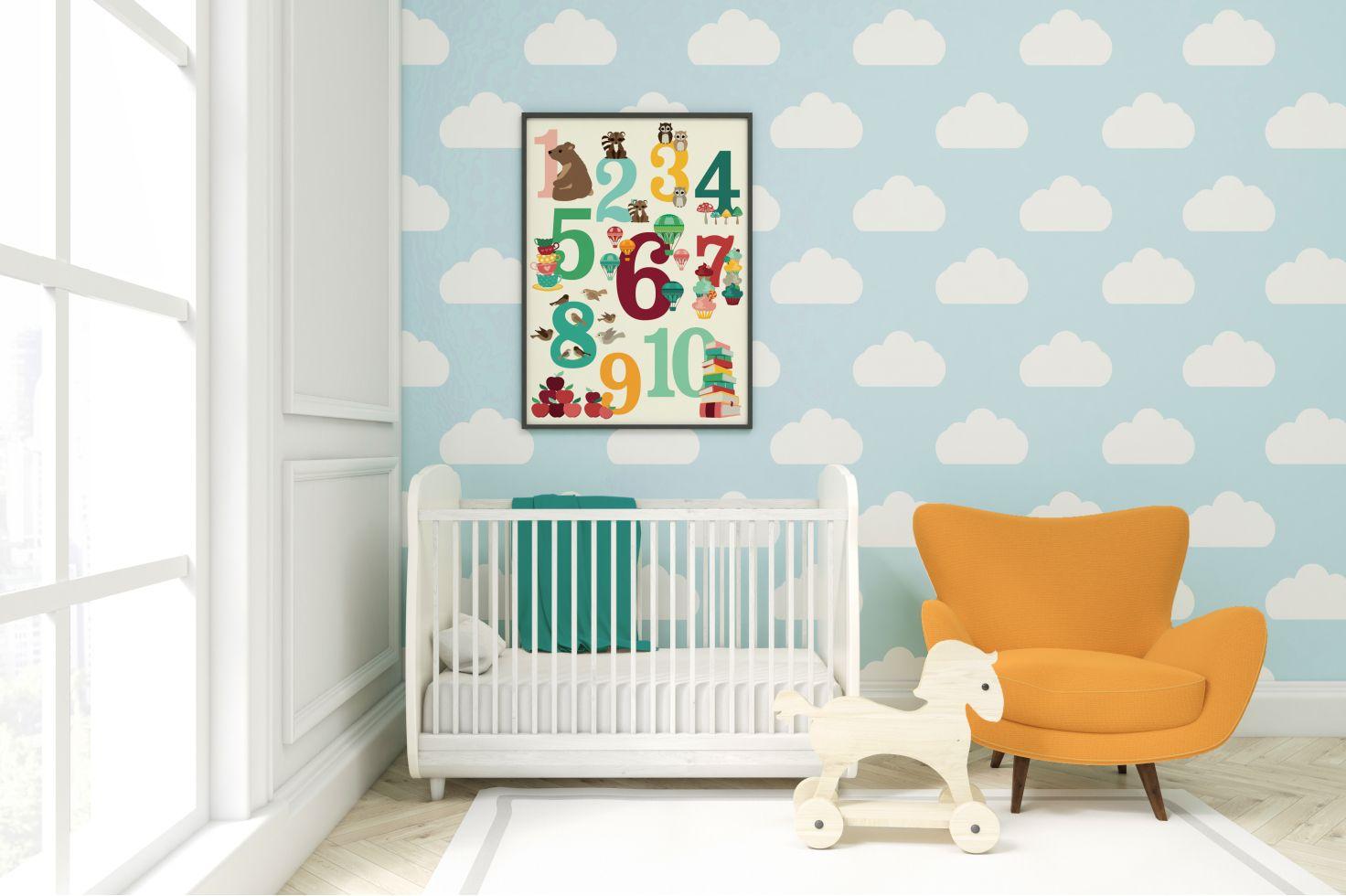 Oktoberdots cijferposter voor de babykamer of kinderkamer in mooie, vrolijke kleuren.