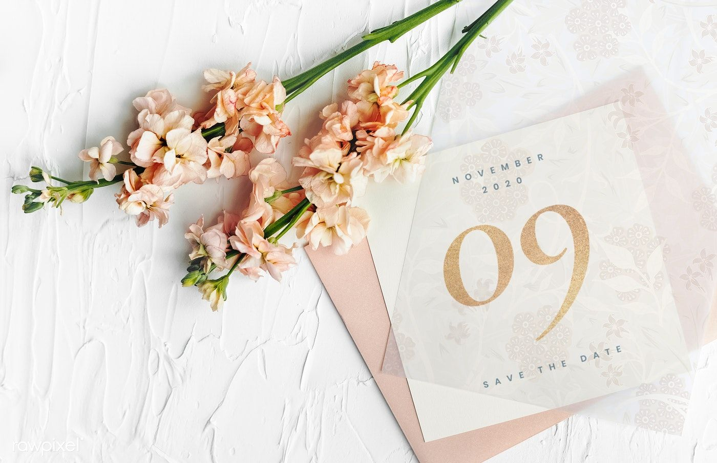 Download premium psd of Wedding invitation card mockup