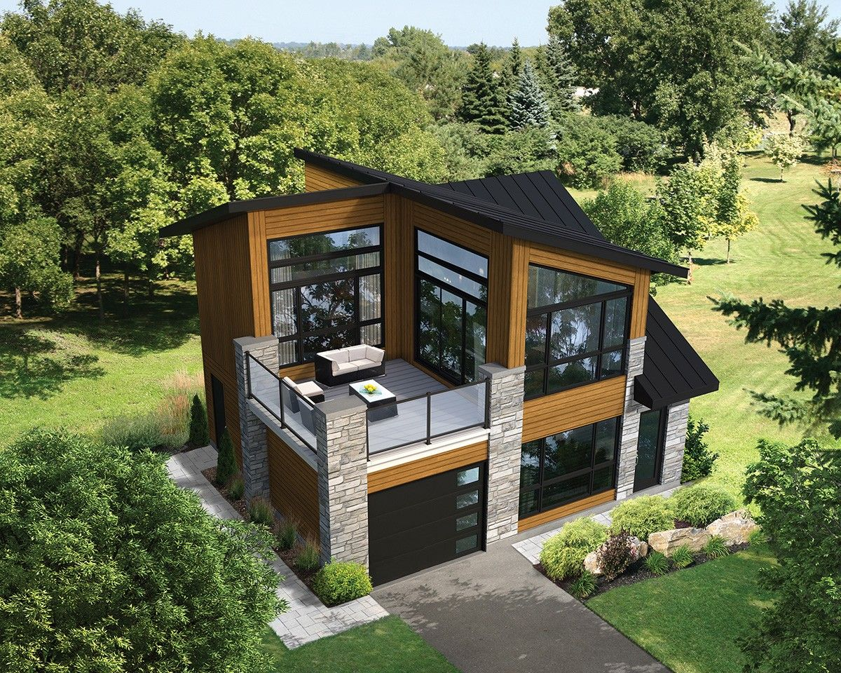 Plan 80878pm dramatic contemporary with second floor deck for Modern garage plans with loft