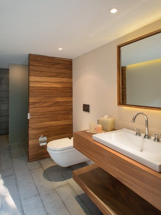 I Like The Wooden Floating Vanity With Shelf Underneath For Towels