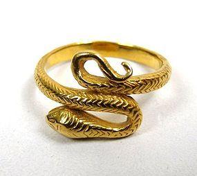 Solid Gold Snake Ring Animal Ring Serpent Ring