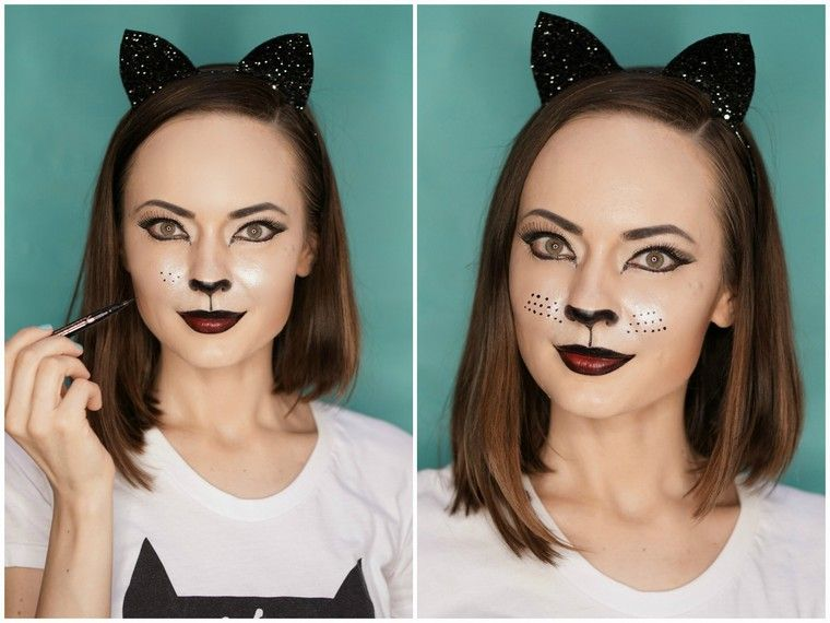 tuto maquillage chat halloween femme maquillage idée