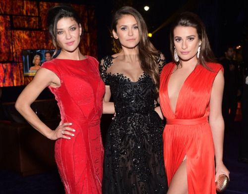 laughing-with-lea:  Lea Michele, Nina Dobrev and Jessica Szohr at the InStyle and Warner Bros. Golden Globe after party (x)