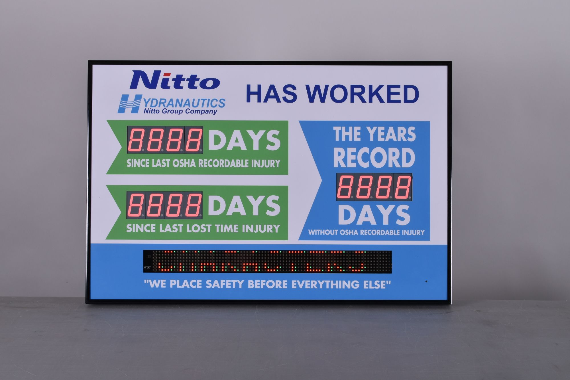 Scrolling Message Safety Scoreboard with Three Counters
