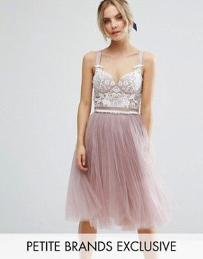 chi chi petite contrast lace corset top tulle skirt prom