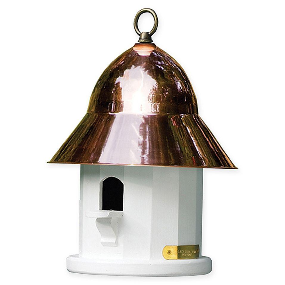 Best Lazy Hill Copper Top Bird House In White White Copper In 400 x 300