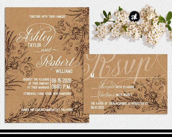 Rustic Wedding Invitation Kit Printable Kraft Invites By AisleTime