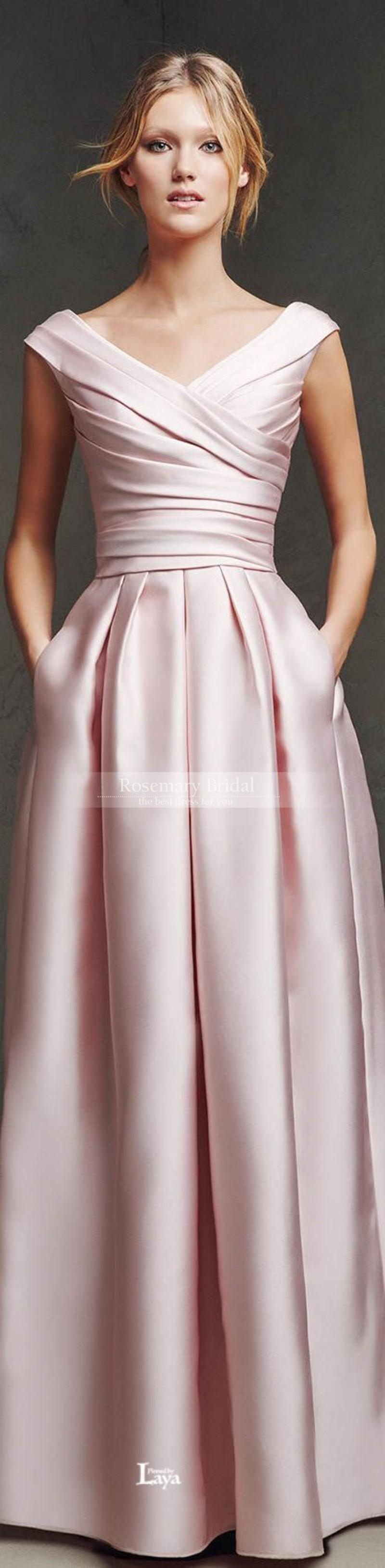 04cd6e66d91 Elegant Winter 2016 Pleats A Line V Neck Cap Sleeve LOng Floor Length Pink  Satin Wedding Bridesmaid Dresses Custom Made Cheap Plus Size