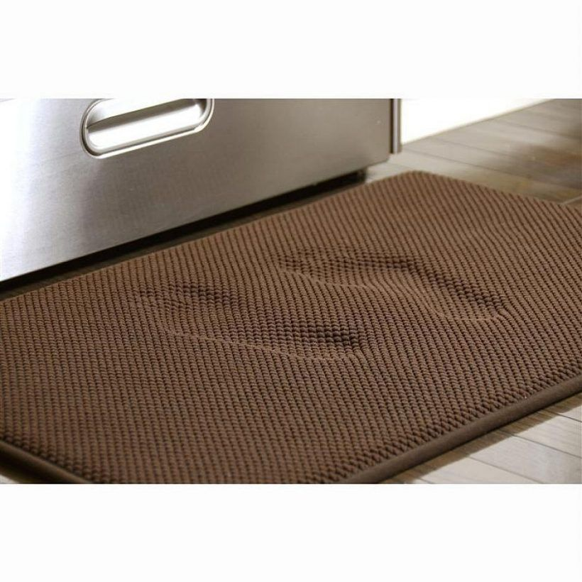 Kitchen Brown Floor Mats Above Solid Wood With Color Under Refrigerator On Cabinet The Lication Of