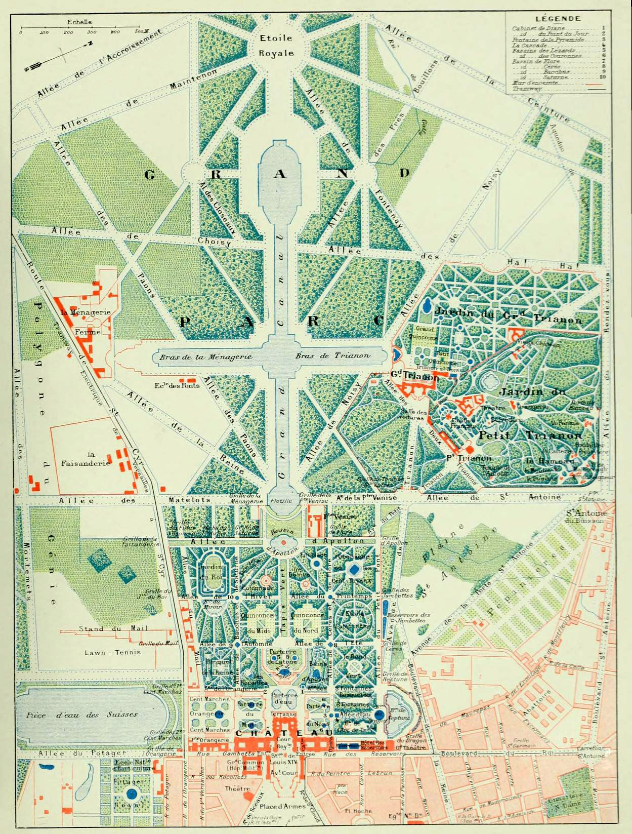 Plan of the park of versailles one of the pathways is for Garden design versailles