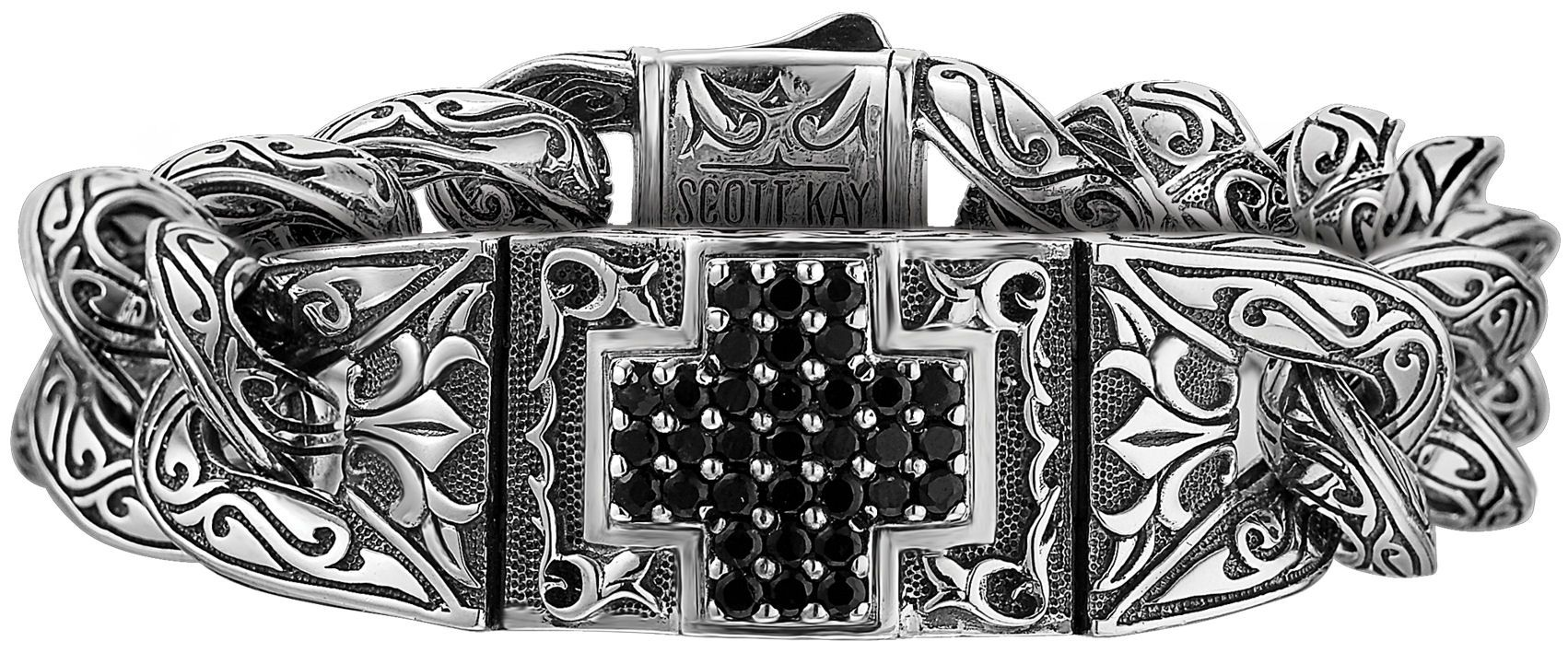 Scott Kay Unkaged Large Black Sapphire Sterling Silver Cross Bracelet