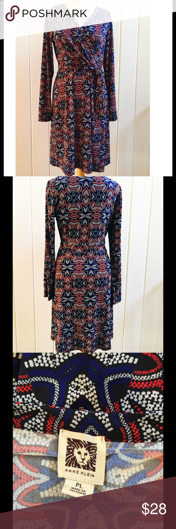 Navy & Red Jersey Wrap Dress Excellent condition. Worn once. Super flattering. Comes from a smoke- and pet-free house. Anne Klein Dresses